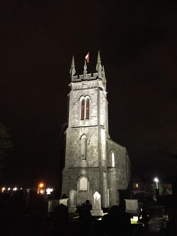 St Munchin's Church, Limerick City: brightly lit at night